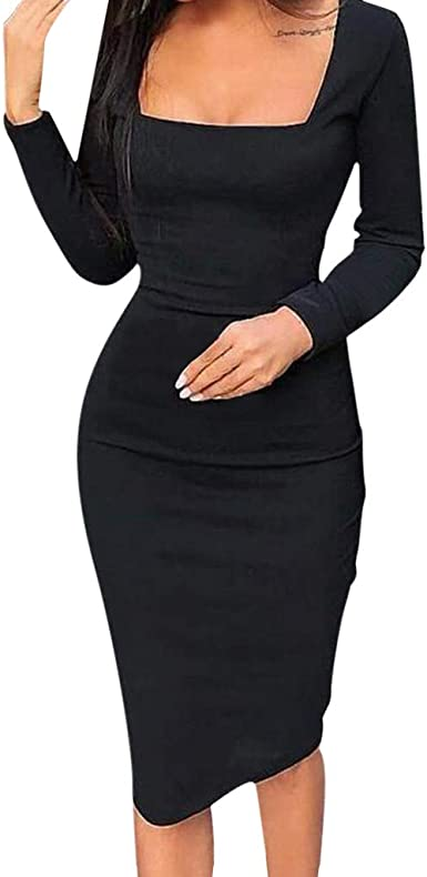 Elegant Slim Long Sleeve Print Work Office Bodycon Midi Pencil Dress Womens