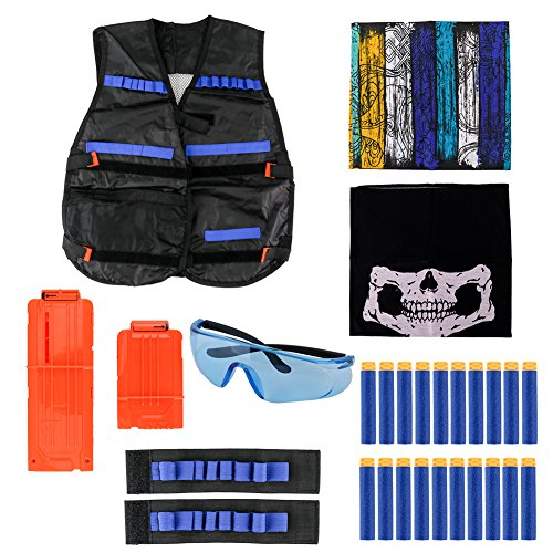 Peicees Kids Elite Tactical Vest Kit For Nerf N-Strike Elite Series,20 PCS Soft Foam Darts,2 Hand Wrist Bands,2 Face Mask,1 Blue Protective Glasses And 2 Reload Clip For Kids Blaster Play