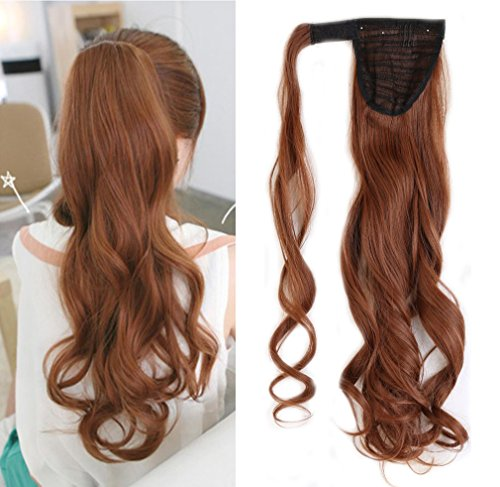 17-26 Inch Straight Curly Wavy Wrap Around Ponytail Hair Extension Clip in One Piece Synthetic Hairpiece for Women-light auburn-curly