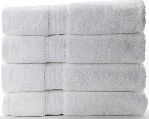 Hotel Sheets Direct 600 GSM 100% Cotton Towel Sets (Set of 4 White Bath Towels)