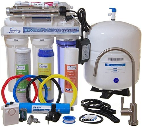 iSpring RCC7AK-UV Deluxe Under Sink 7-Stage Reverse Osmosis Drinking Water Filtration System with Alkaline Remineralization and UV ()