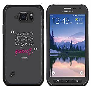 Eason Shop / Premium SLIM PC / Aliminium Casa Carcasa Funda Case Bandera Cover - Cita del amor de Rosa gris del texto del mensaje - For Samsung Galaxy S6 Active G890A