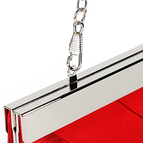 Bidear Satin Evening Bag Clutch, Party Purse, Wedding Handbag with Chain Strap for Women Girl (Red) by Bidear (Image #6)