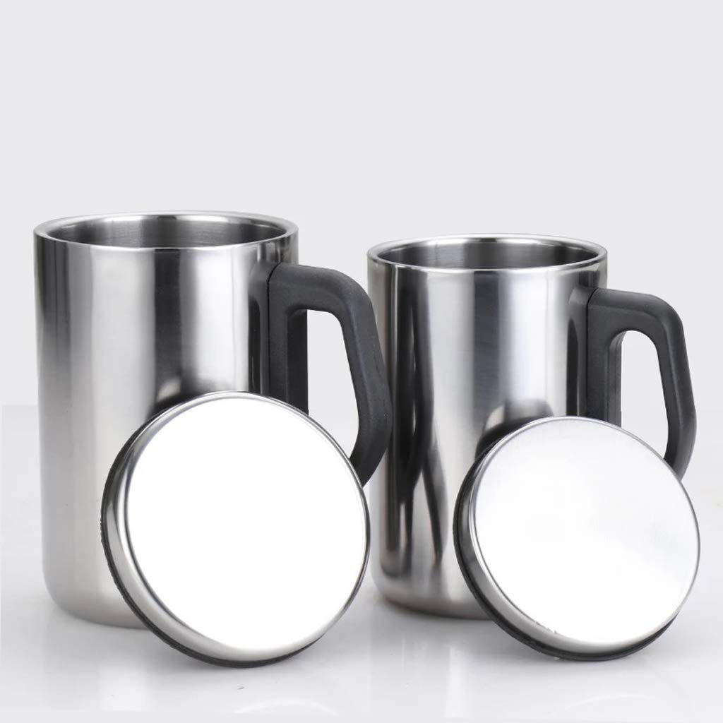 B Blesiya 2x Insulate Travel Mug 12oz Cocktail Tumbler Wine Cup Stainless Steel Mug With Lid - Dishwasher & Microwave Safe - Clear, Unique & Insulated with Handle