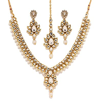 hot Bindhani Indian Bollywood Gold Plated Kundan Bridal Wedding Necklace Earrings Tikka Jewelry Set For Women supplies