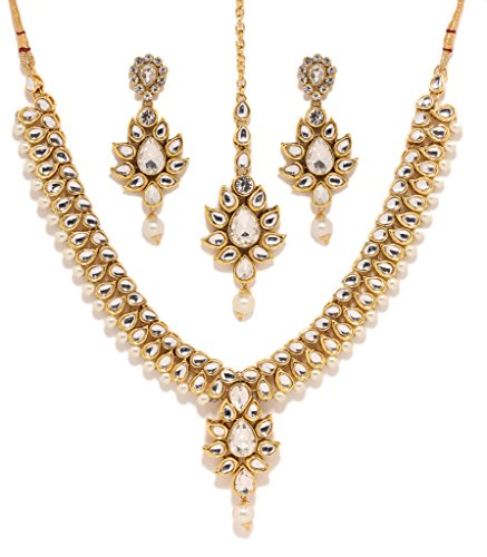 Bindhani Indian Bollywood Gold Plated Kundan Bridal Wedding Necklace Earrings Tikka Jewelry Set for Women - Bridal Gold Plated
