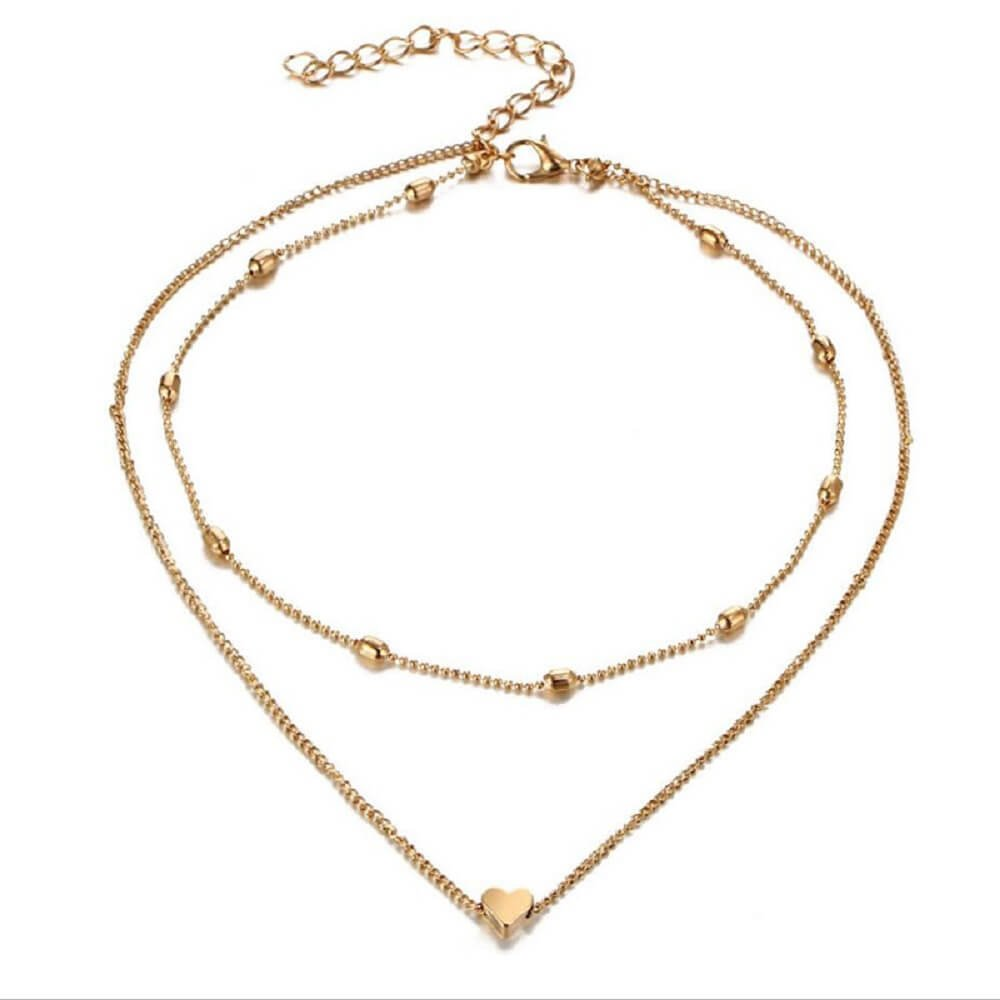 """Zen Styles Women's Mini Floating Heart Pendant Layered Choker Necklace with Lobster Clasp Closure, 13""""-14"""" Choker and 16''-18'' Necklace (Gold Tone)"""