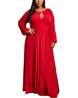 6417c6d32ab Lalagen Women s Vintage Long Sleeve Plus Size Evening Party Maxi Dress Gown