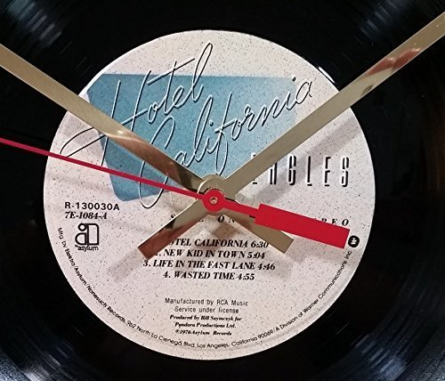 Eagles Vinyl Record Clock (Hotel California). Handmade 12'' wall clock created using the original Eagles record.