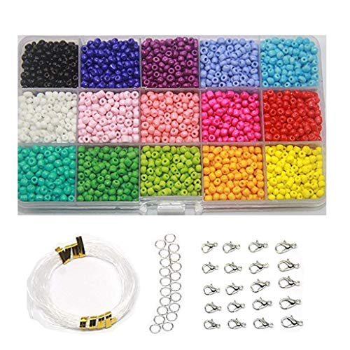 Maikouhai 3mm Mini Crystal Beads DIY Bracelet Art Jewelry-Making Fadeless Color Glass Bead & 20 Lobster Clasps & 20 Gadgets & 17M Line - for Making Necklace, Rings, Anklets, Doll Accessories