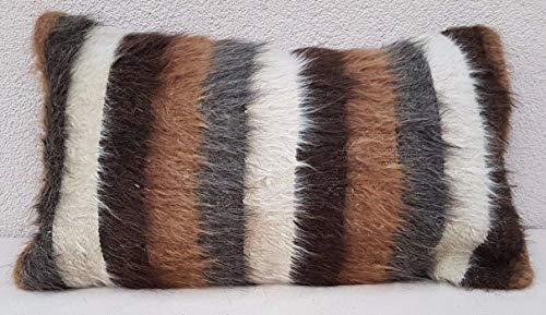 Woven Angora Wool Shaggy Rug Pillow Cover, Shag Carpet Cushion, Ethnic Kilim Pillow Cover, Kilim Antique Pillow, Farmhouse Goat Hair Decor, Lumbar Throw 14'' x 24'' (35 x 60 Cm)