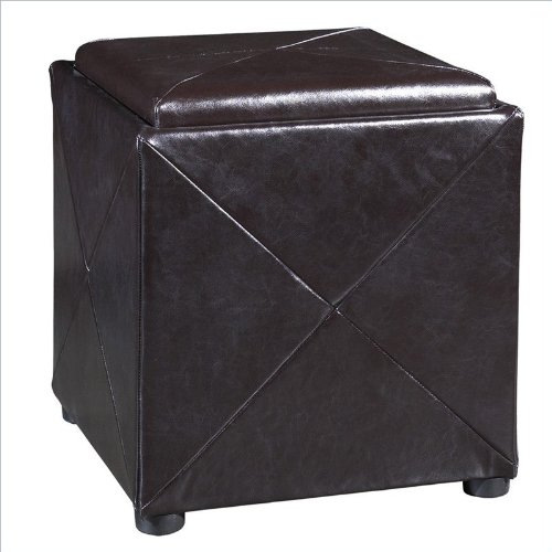 Modus Furniture Modus Milano Storage Cube Ottoman in Chocolate Brown Leather