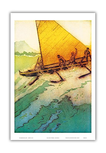 Big Surf At Waikiki - Hawaii Outrigger Canoe - Vintage Menu Cover Royal Hawaiian Hotel (Pink Palace of the Pacific) by John Melville Kelly c.1950s - Hawaiian Master Art Print (The Royal Hawaiian Hotel)