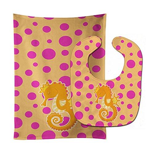 Caroline's Treasures BB8835STBU Beach Seahorse Baby Bib & Burp Cloth, 11 x 18