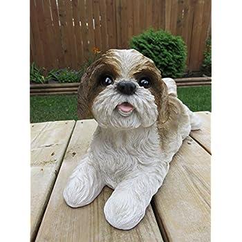 Amazoncom Shih Tzu Dog Figurine Lying On Tummy Brown And White
