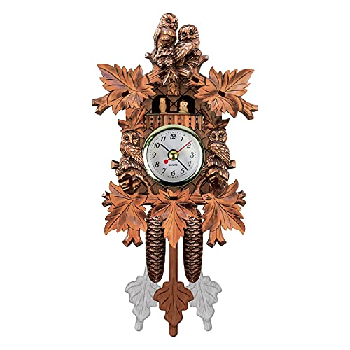 Ymibull Classic Wall Clock Cuckoo Wall Clock Chime Alarm Clock Retro Clock Wooden Living Room Clock (G)
