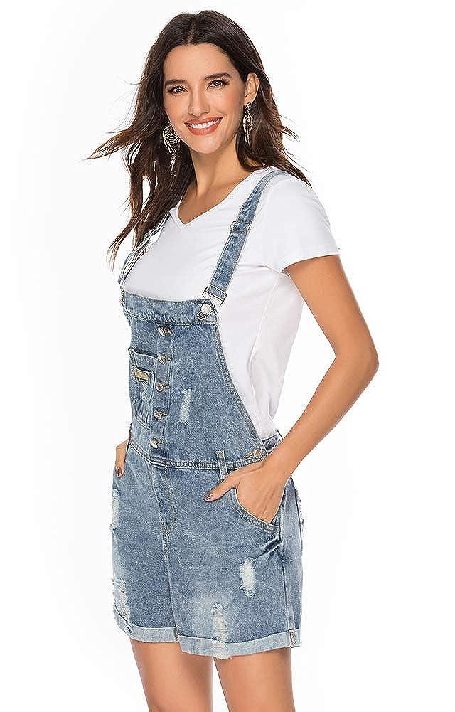 ezShe Womens Denim Shortalls Adjustable Ripped Bib Overall Shorts