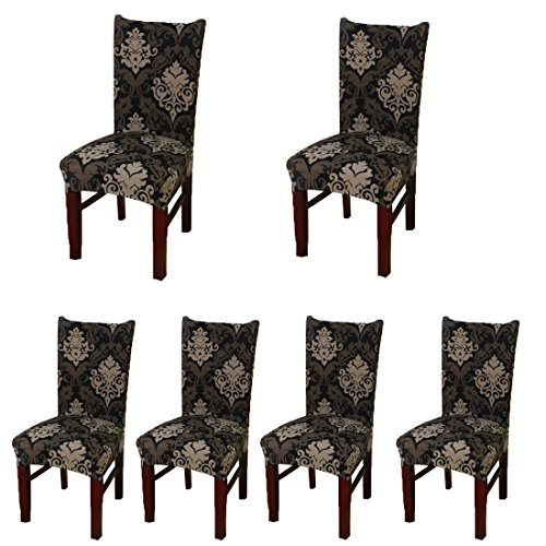 Deisy Dee Stretch Chair Cover Removable Washable for Hotel Dining Room Ceremony Chair Slipcovers Pack of 6 (Chairs Outdoor Reupholster)