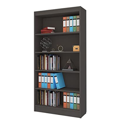 A10 Shop Alpha Bookcase & Storage Cabinet With 4 Shelf, 67 Inch High- Slate Grey