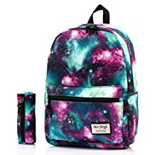 [HotStyle Fashion Printed] TrendyMax Galaxy Pattern School Backpack Cute for Girls with Matching Pencil Bag Bundles, Green