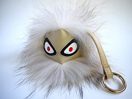 AURORA168 Mink Fox Fur Monster Bugs Pom Pom Doll Ball Key Ring/ Keychain /Bag Charm (Mini Ivory) (Racoon Tail)