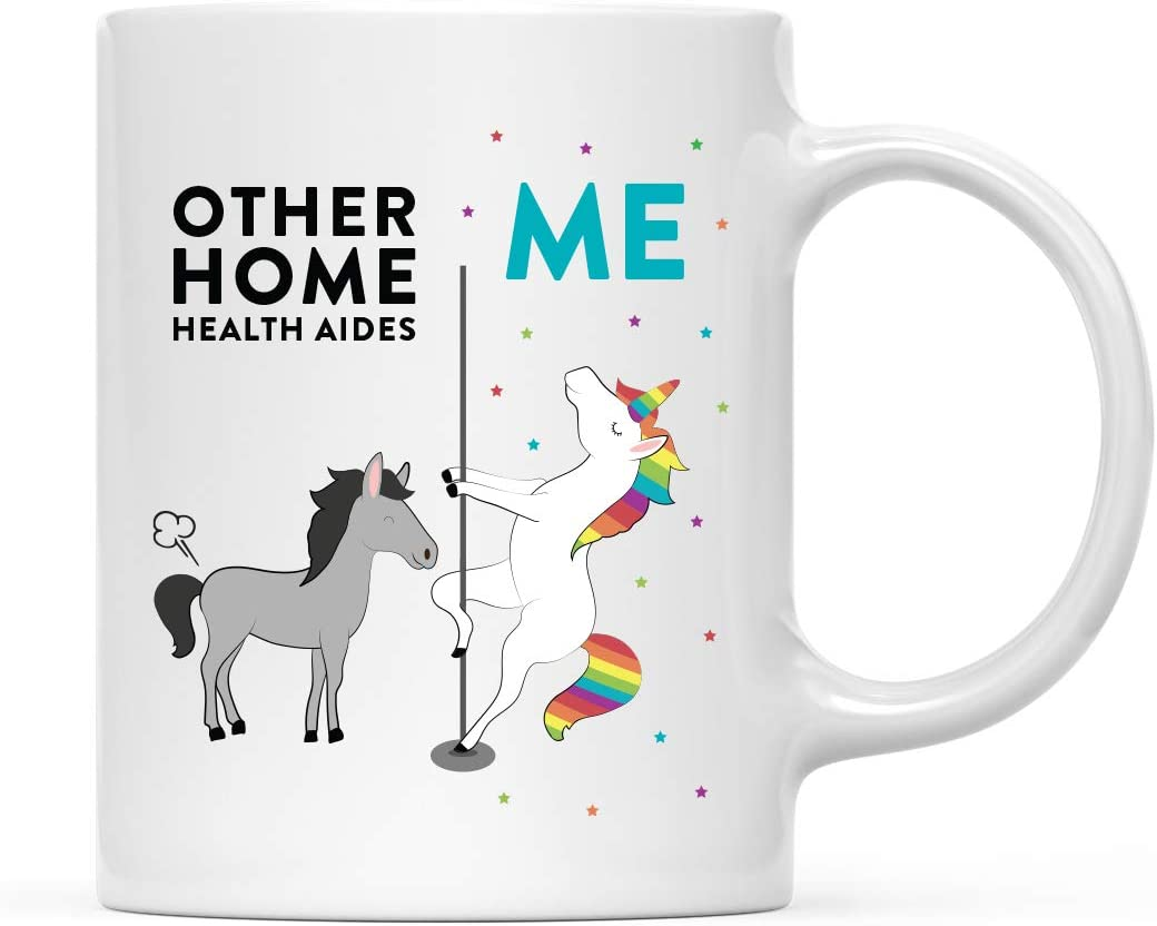 Andaz Press Funny Quirky 11oz. Ceramic Coffee Tea Mug Thank You Gift, Other Home Health Aides Me, Horse Unicorn, 1-Pack