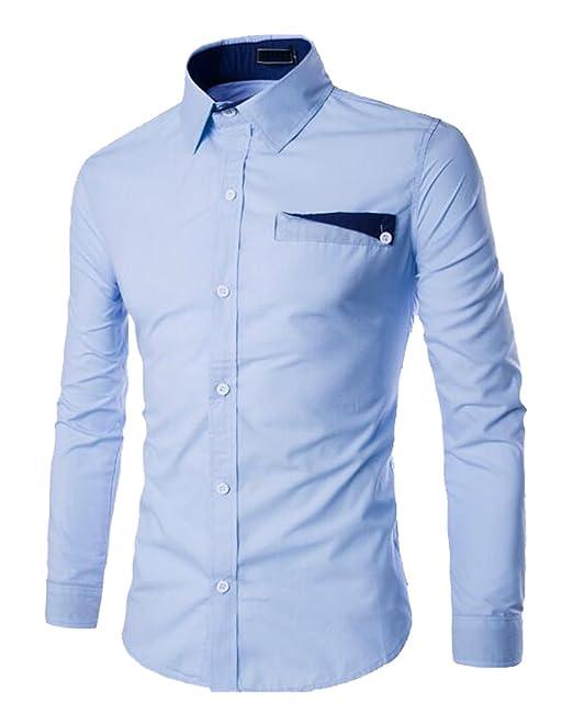 ISSHE Camisas Slim Fit Hombre Camisa Regular Fit Básica Cuello Clásico  Camisas de Vestir Formal Caballero Camisas Vestidos Entalladas Casuales  Elegantes ... 54a27f6c8f96a