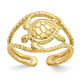 14k Yellow Gold Turtle Adjustable Cute Toe Ring Set Fine Jewelry Gifts For Women For Her