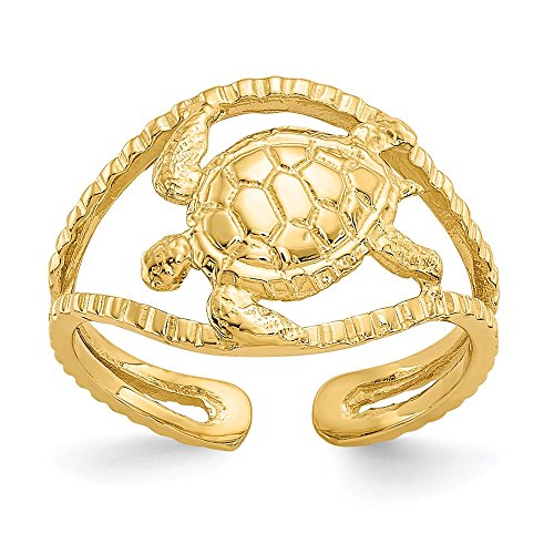 14k Yellow Gold Turtle Adjustable Cute Toe Ring Set Fine Jewelry Gifts For Women For Her ()