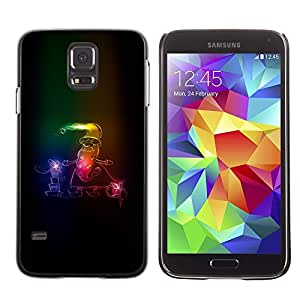 LECELL--Funda protectora / Cubierta / Piel For Samsung Galaxy S5 SM-G900 -- Santa Claus Neon Winter Christmas Sleigh --