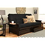 Phoenix Futon in Espresso Finish with Suede Black Mattress