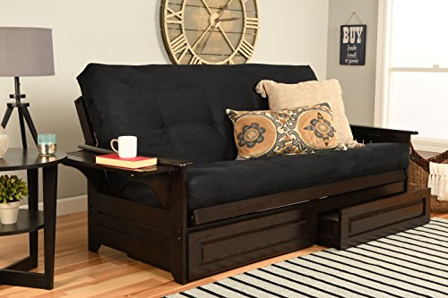 - Phoenix Futon in Espresso Finish with Suede Black Mattress