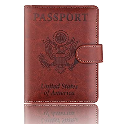 good PU Leather RFID Blocking Passport Holder Cover Case Travel Wallet with Magnet Closure for Men Women