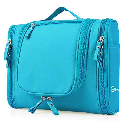 (Heavy Duty Waterproof Hanging Toiletry Bag - Travel Cosmetic Makeup Bag for Women & Shaving Kit Organizer Bag for Men - Large Size: 10.2 x 4.5 x 8.5 Inch (Blue))