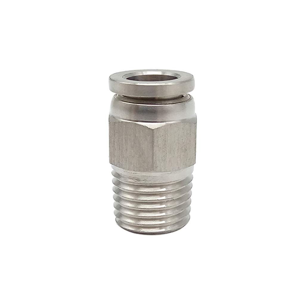 Metalwork 304 Stainless Steel Push to Connect Air Fitting, Male Straight Connector, 12mm OD x 3/8'' NPT Male (Pack of 10) by Metalwork (Image #3)