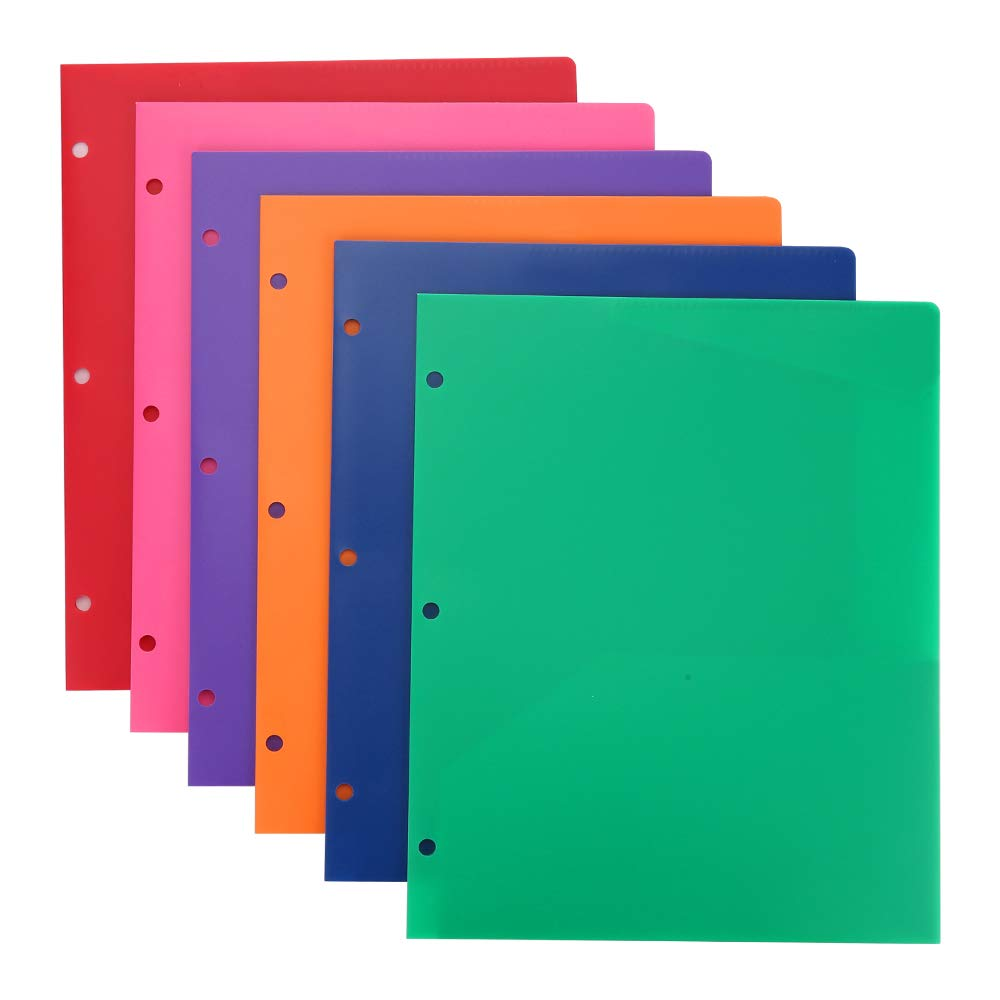 Plastic Folders with Pocket and 3 Hole 12PCS Heavy Duty 2 Pocket Plastic Folders Letter Size Folders with Pockets 3 Hole Punched