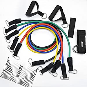 Kinzi Resistance Band Set with Door Anchor, Ankle Strap, Exercise Chart & Resistance Band Carrying Case from Kinzi