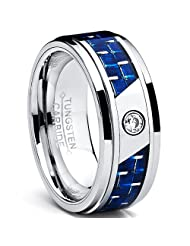 Metal Masters Co.® 8MM Men's Tungsten Carbide Ring W/ Blue Carbon Fiber Inaly and CZ sizes 7 to 13