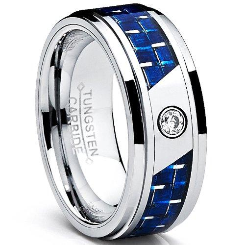 Ultimate Metals® Anillo de Matrimonio Tungsteno Para Hombre, Banda de Boda con Fibra de