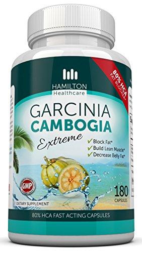 Камбоджийская гарциния для похудения и силы, 180 капсул (Hamilton Healthcare, 80% HCA Super Strength Garcinia Cambogia Extreme, Weight Loss Supplement)