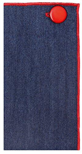 Dark Denim with Red Metal Button Men's Pocket Square by The Detailed Male by The Detailed Male (Image #1)