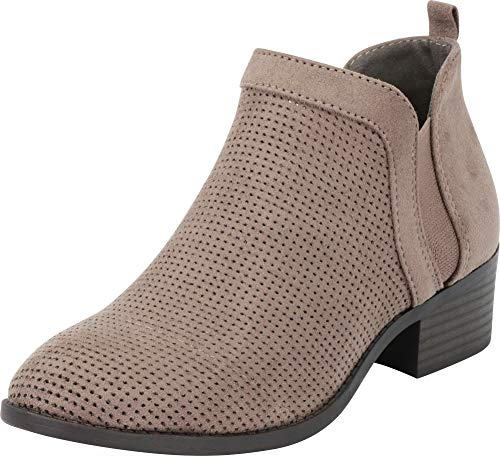 Cambridge Select Women's Closed Toe Side V Cutout Chelsea Stretch Perforated Chunky Block Heel Ankle Bootie (5.5 B(M) US, Charcoal IMSU)