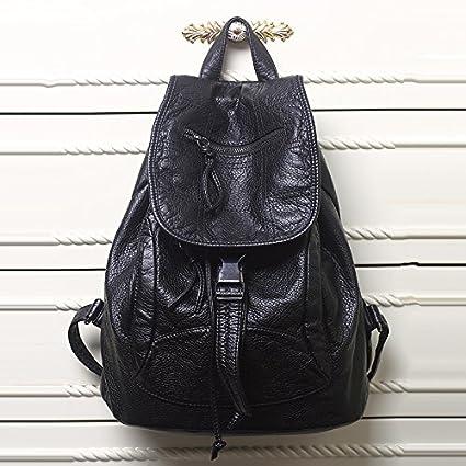 Amazon.com: New Designer 2017 Washed Leather Bag High-grade Leather Women Backpacks Bolsos Mujer School Backpack for Girls Travel Bag Rucksack (Black ...