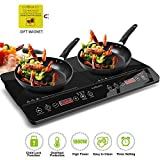 CUISUNYO Induction Cooktop, 1800W Double Countertop Burner(2 separate heating zones) with Digital Sensor and Kids Safety Lock, 11 Temperature Levels Suitable for Cast Iron Cookware