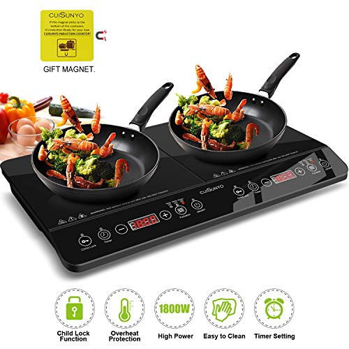 CUISUNYO Induction Cooktop, 1800W Double Countertop Burner(2 separate heating zones) with Digital Sensor and Kids Safety Lock, 11 Temperature Levels Suitable for Cast Iron ()