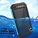 iMeshbean Solar Charger, Solar Power Bank 15000mAh External Backup Battery Pack USB Solar Panel Charger with 3LED Light Portable for Emergency Outdoor Camping Travel (Blue)