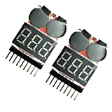 EUDAX 2 Pcs 2 in 1 RC 1-8s Lipo Li-po Li-ion LiMn Li-Fe Battery Checker Tester with Low Voltage Buzzer Alarm warning and LED Indicator for FPV Racing copter helicopter quadcopter monitor