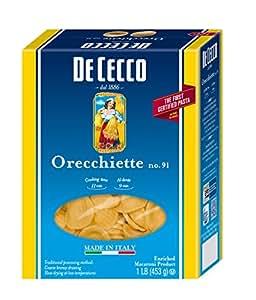De Cecco Pasta, Orecchiette, 16 Ounce (Pack of 5)