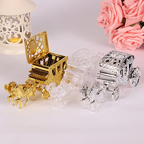 13.5x3.5x5cm Romantic Royal Carriage Cinderella Carriage Wedding Party Favors Gifts Package Box Candy Box Plastic Box for Baby Shower Birthday Party Decoration (Gold) (Gold, 1pcs)