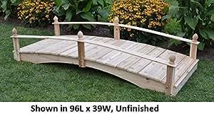 Amish-Made Weight-Bearing Cedar 4' x 8' Acorn Garden Bridge, Cedar Stain